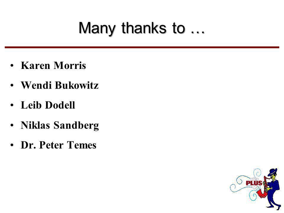 Many thanks to … Karen Morris Wendi Bukowitz Leib Dodell Niklas Sandberg Dr. Peter Temes