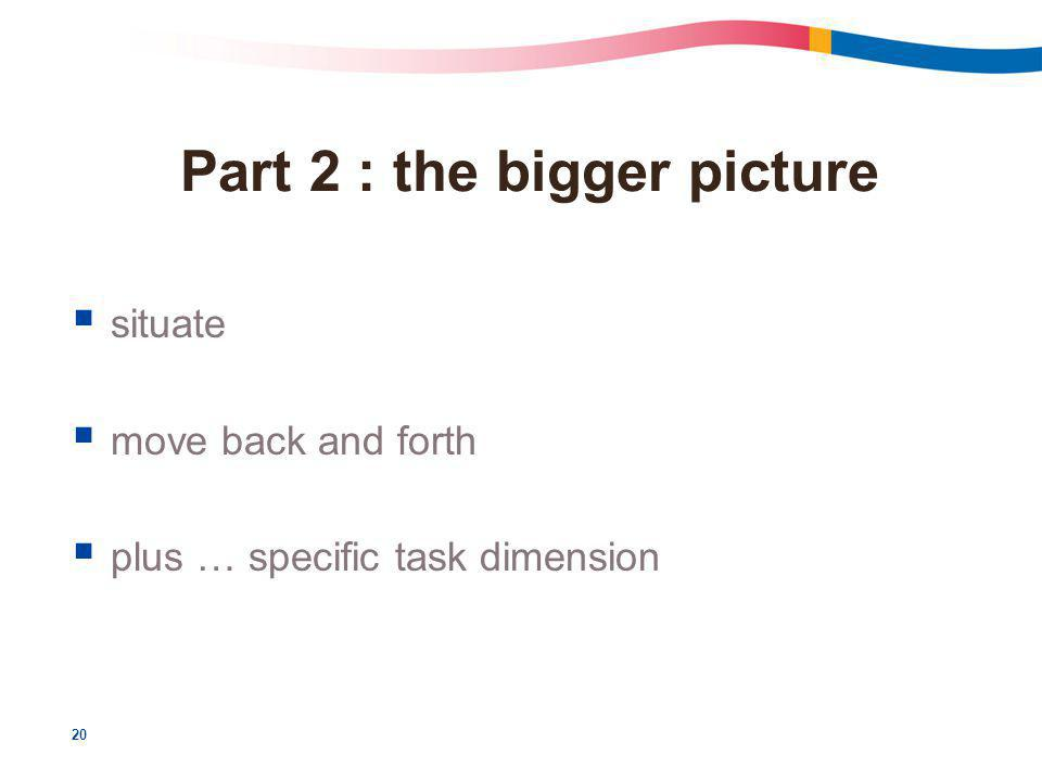 20 Part 2 : the bigger picture  situate  move back and forth  plus … specific task dimension