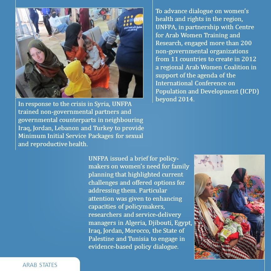 ARAB STATES In response to the crisis in Syria, UNFPA trained non-governmental partners and governmental counterparts in neighbouring Iraq, Jordan, Lebanon and Turkey to provide Minimum Initial Service Packages for sexual and reproductive health.