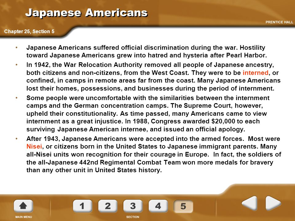 Japanese Americans Japanese Americans suffered official discrimination during the war. Hostility toward Japanese Americans grew into hatred and hyster