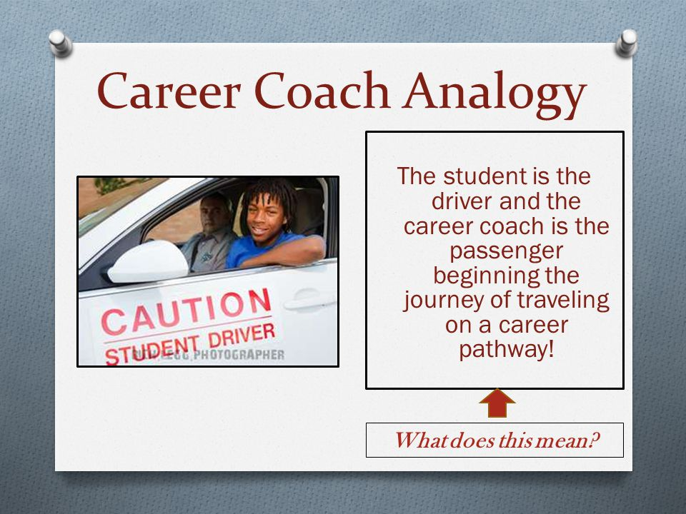 Career Coach Analogy The student is the driver and the career coach is the passenger beginning the journey of traveling on a career pathway! What does