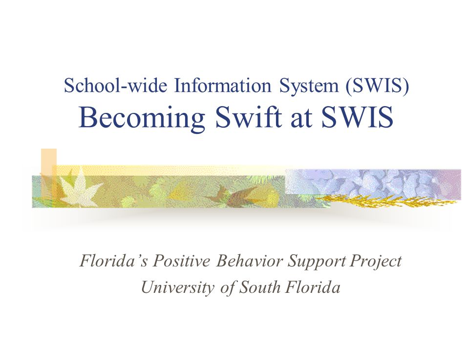 School-wide Information System (SWIS) Becoming Swift at SWIS Florida's Positive Behavior Support Project University of South Florida