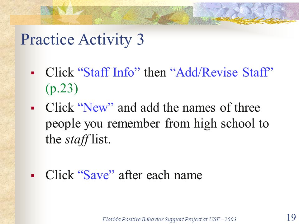Florida Positive Behavior Support Project at USF - 2003 19 Practice Activity 3  Click Staff Info then Add/Revise Staff (p.23)  Click New and add the names of three people you remember from high school to the staff list.