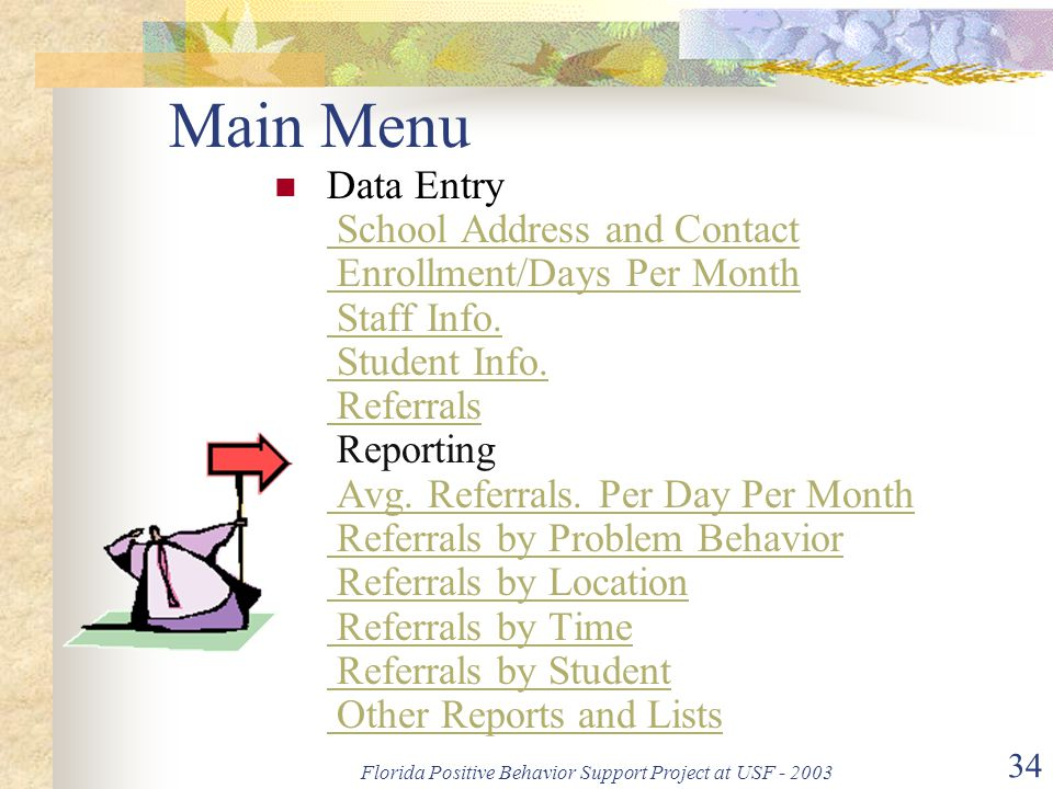 Florida Positive Behavior Support Project at USF - 2003 34 Main Menu Data Entry School Address and Contact Enrollment/Days Per Month Staff Info.