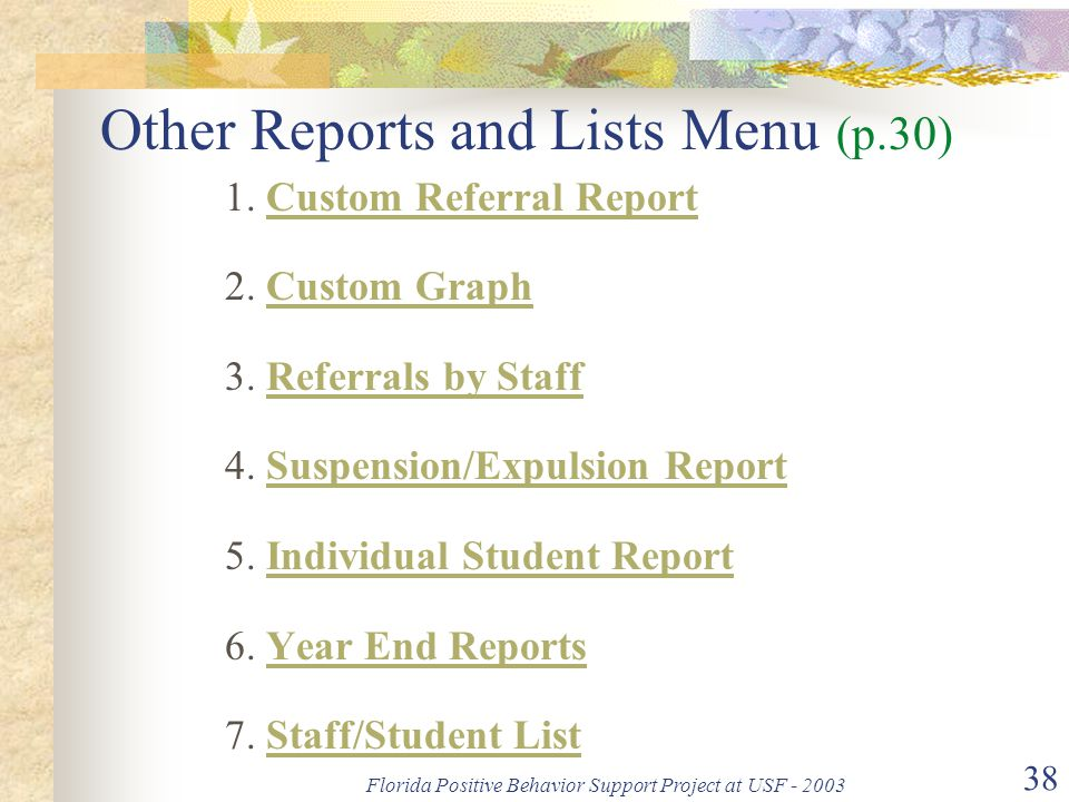 Florida Positive Behavior Support Project at USF - 2003 38 Other Reports and Lists Menu (p.30) 1. Custom Referral Report 2. Custom Graph 3. Referrals