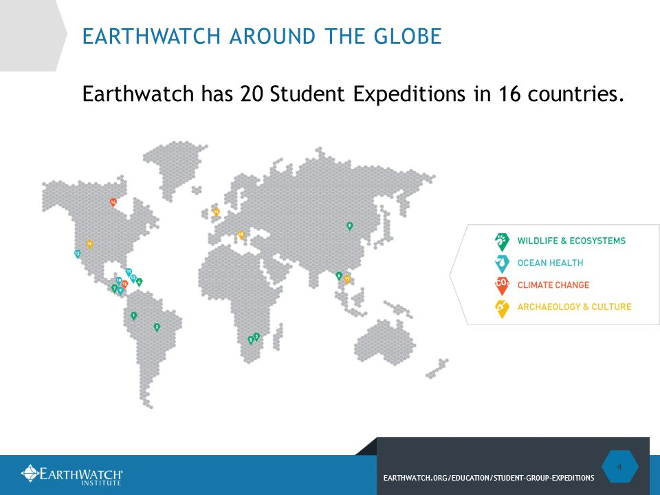 EARTHWATCH.ORG/EDUCATION/STUDENT-GROUP-EXPEDITIONS EARTHWATCH RESEARCH PILLARS Earthwatch offers a one-of-a-kind opportunity to conserve and explore our planet while delving into one of four research areas.