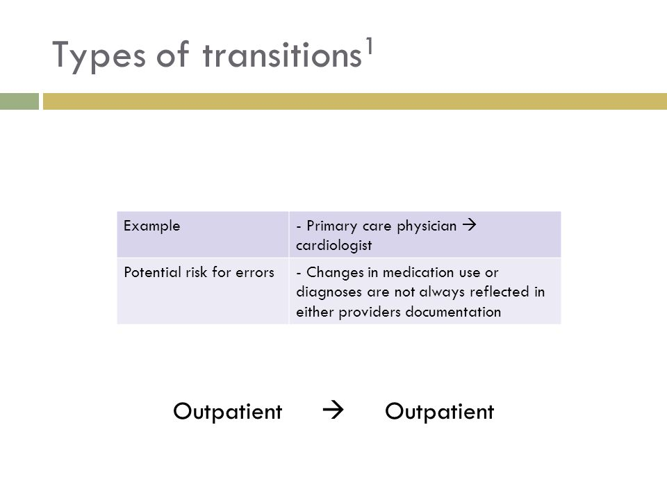 Types of transitions 1 Outpatient  Example Ex: Primary care physician  cardiologist Potential risk for errors- Changes in medication use or diagnose