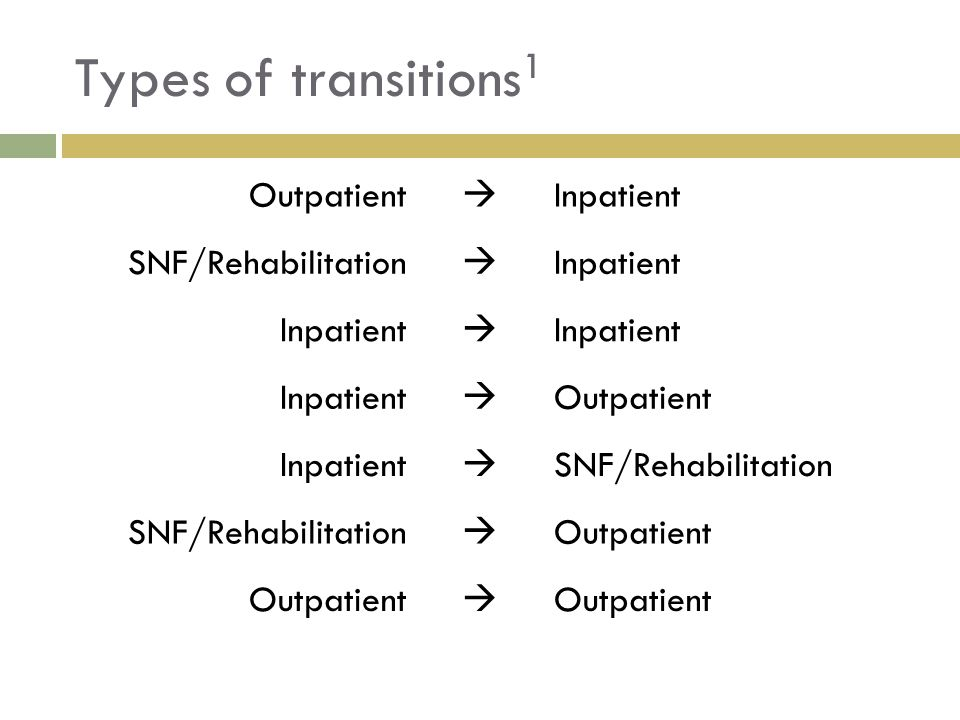 Assessment  Which of the following is not a potential risk factor for medication discrepancies during transitions of care.
