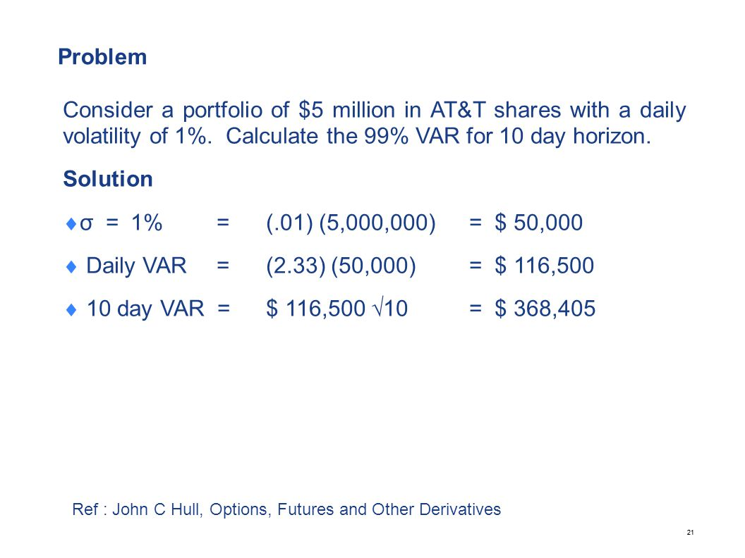 21 Problem Consider a portfolio of $5 million in AT&T shares with a daily volatility of 1%. Calculate the 99% VAR for 10 day horizon. Solution  σ =1%