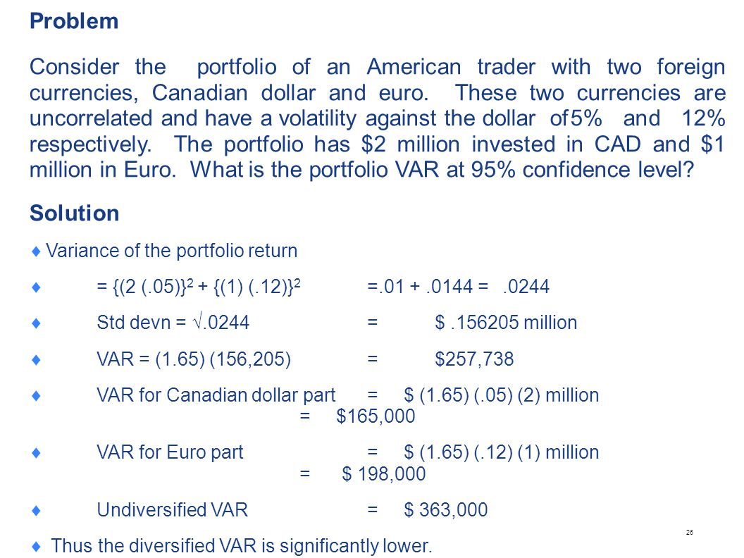 26 Problem Consider the portfolio of an American trader with two foreign currencies, Canadian dollar and euro. These two currencies are uncorrelated a