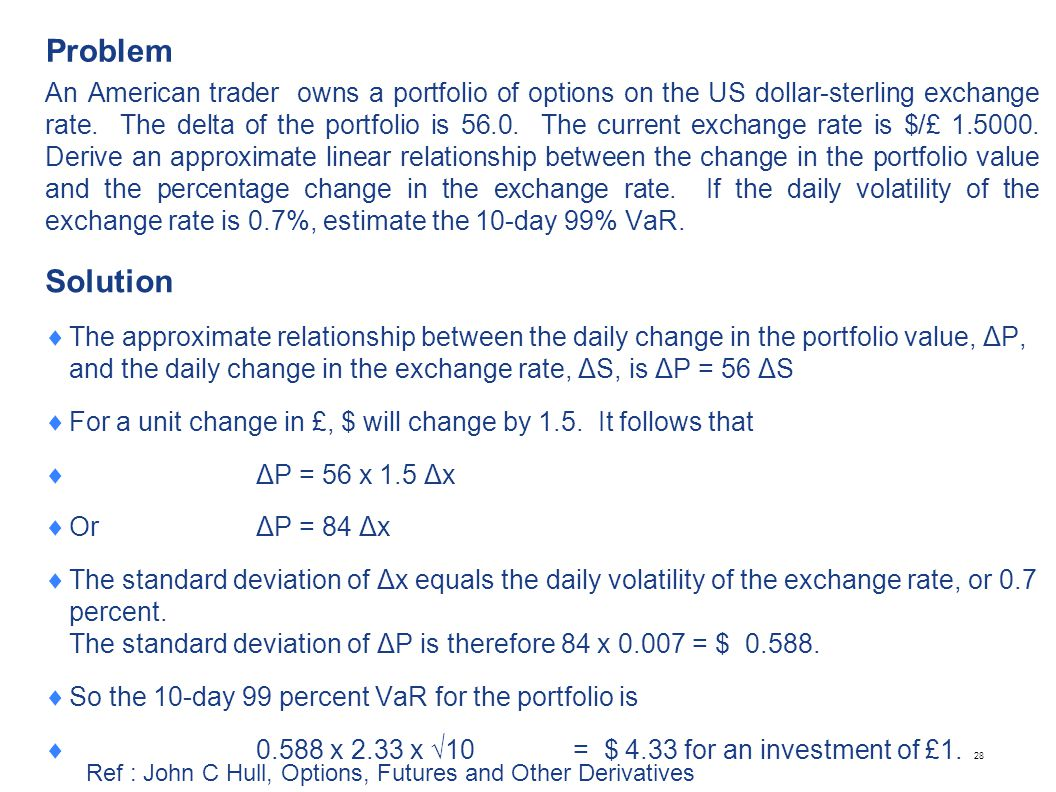Problem An American trader owns a portfolio of options on the US dollar-sterling exchange rate. The delta of the portfolio is 56.0. The current exchan