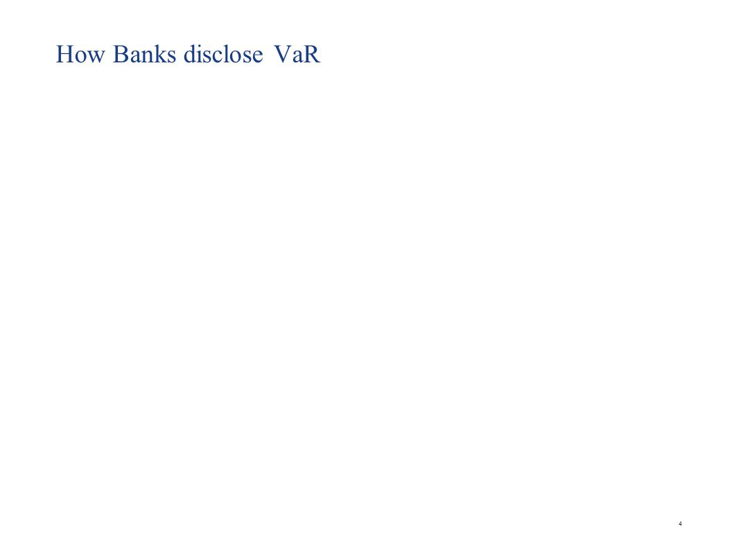 VaR at UBS 5 Ref : Company Annual report