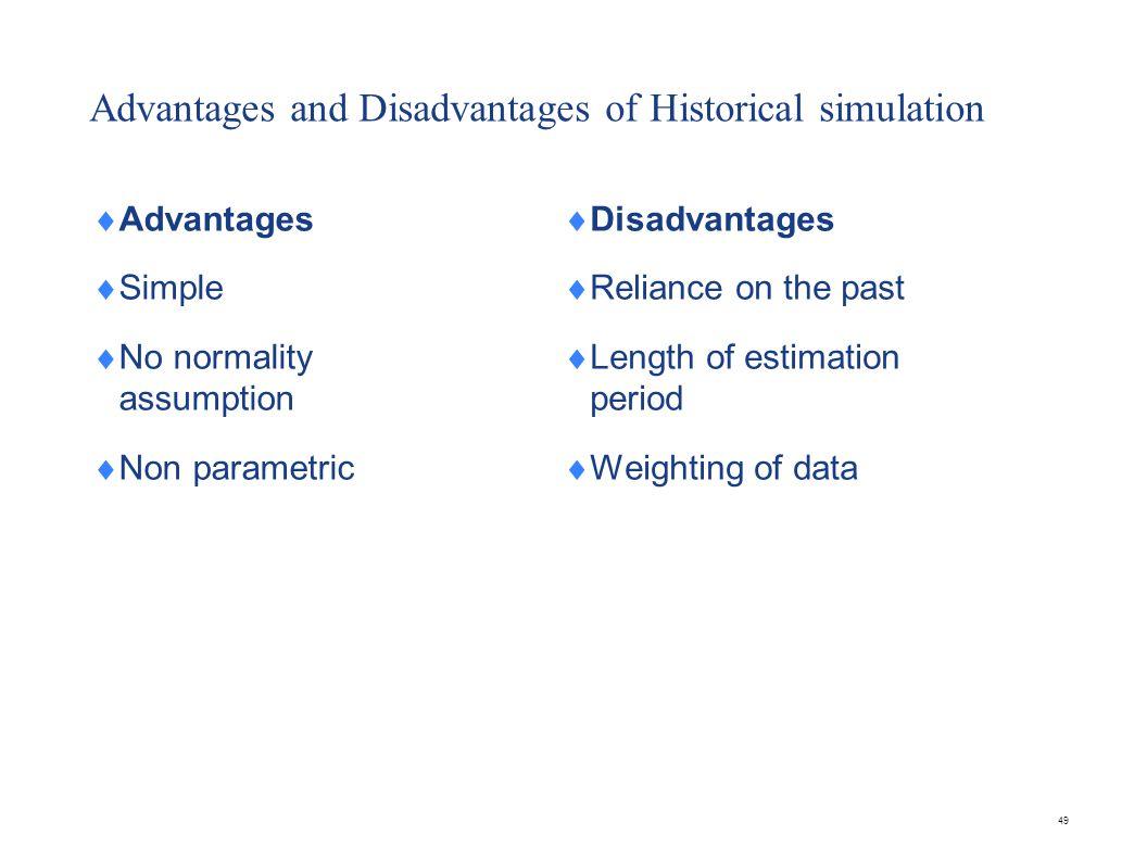 49 Advantages and Disadvantages of Historical simulation  Advantages  Simple  No normality assumption  Non parametric  Disadvantages  Reliance o