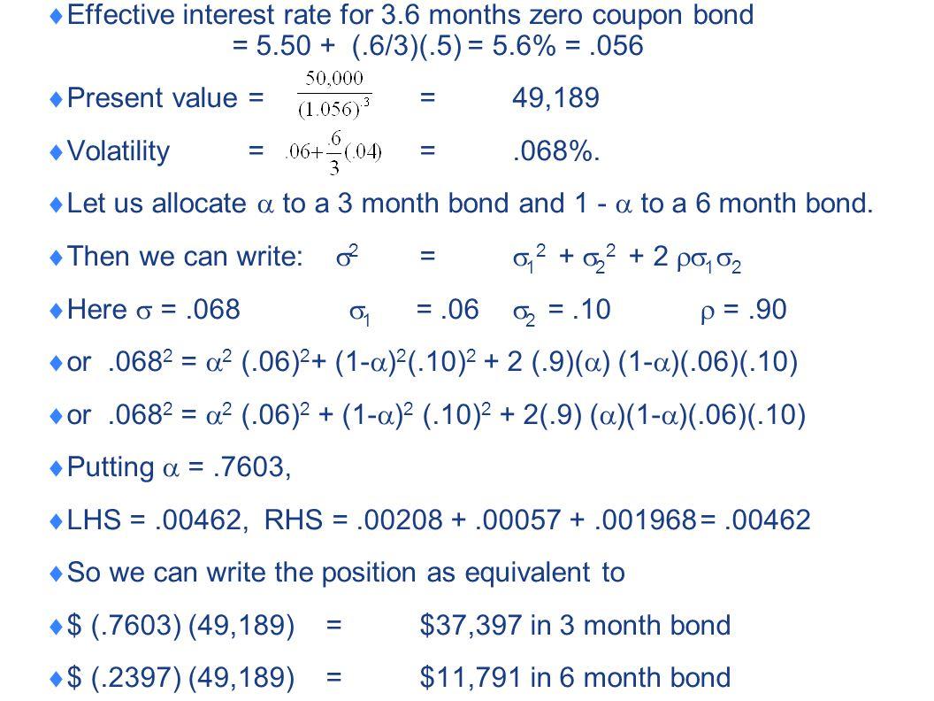  Effective interest rate for 3.6 months zero coupon bond = 5.50 + (.6/3)(.5) = 5.6% =.056  Present value ==49,189  Volatility = =.068%.  Let us al