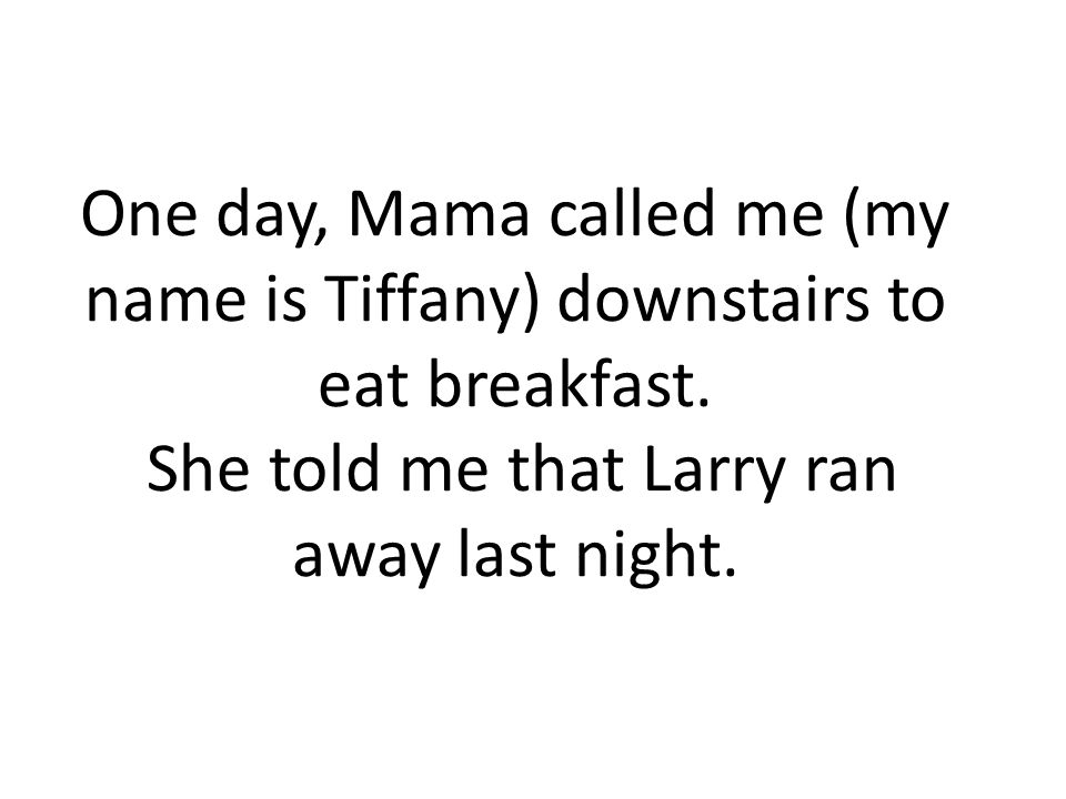 One day, Mama called me (my name is Tiffany) downstairs to eat breakfast. She told me that Larry ran away last night.
