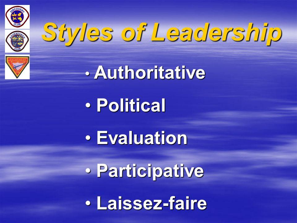 Styles of Leadership Authoritative Authoritative Political Political Evaluation Evaluation Participative Participative Laissez-faire Laissez-faire