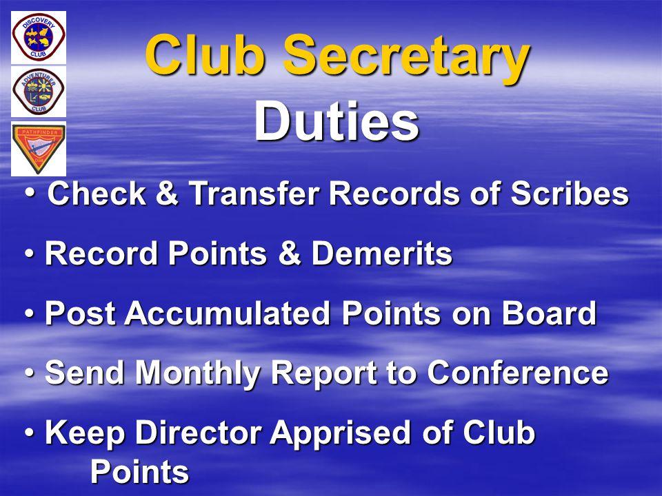 Club Secretary Duties Check & Transfer Records of Scribes Check & Transfer Records of Scribes Record Points & Demerits Record Points & Demerits Post A