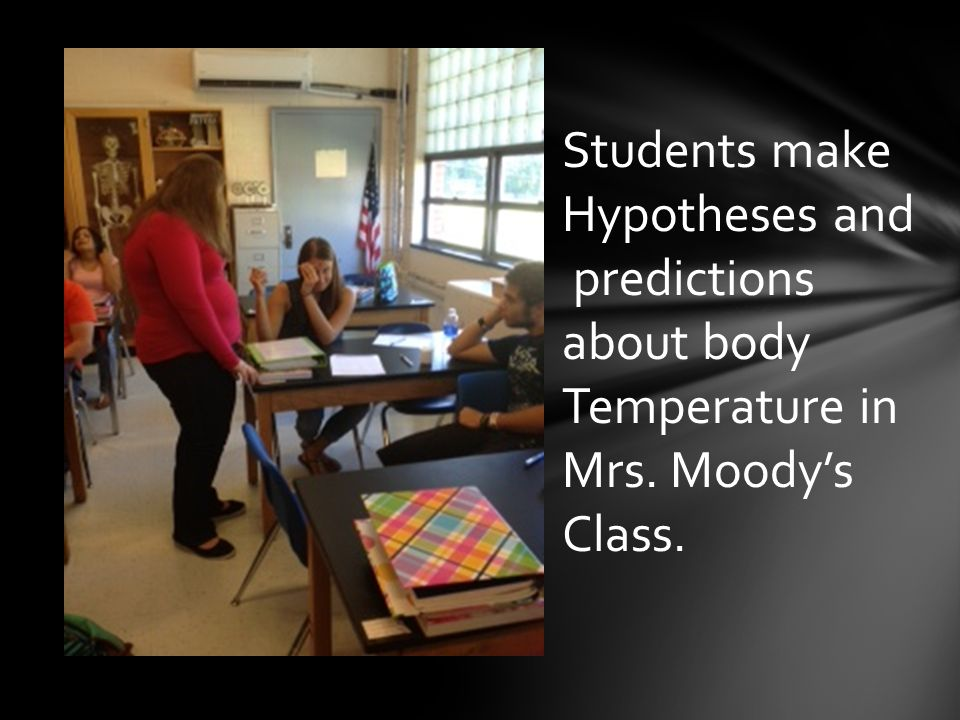 Students make Hypotheses and predictions about body Temperature in Mrs. Moody's Class.