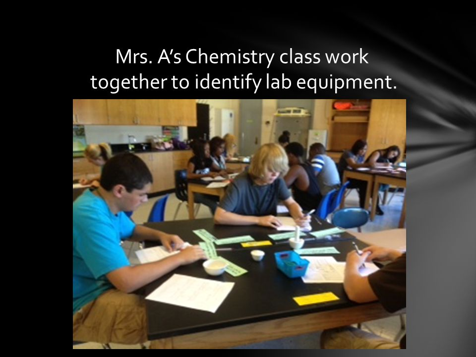 Mrs. A's Chemistry class work together to identify lab equipment.