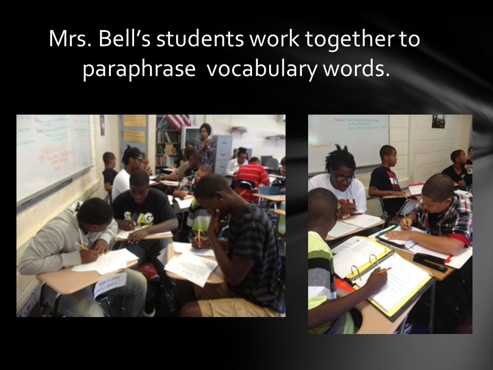 Mrs. Bell's students work together to paraphrase vocabulary words.