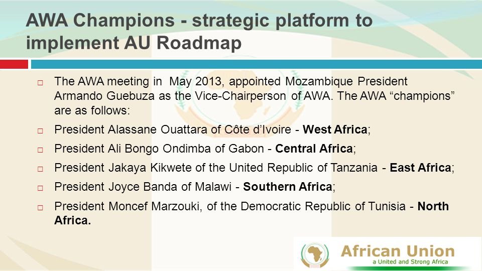 AWA Champions - strategic platform to implement AU Roadmap  The AWA meeting in May 2013, appointed Mozambique President Armando Guebuza as the Vice-Chairperson of AWA.