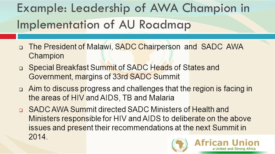 Example: Leadership of AWA Champion in Implementation of AU Roadmap  The President of Malawi, SADC Chairperson and SADC AWA Champion  Special Breakfast Summit of SADC Heads of States and Government, margins of 33rd SADC Summit  Aim to discuss progress and challenges that the region is facing in the areas of HIV and AIDS, TB and Malaria  SADC AWA Summit directed SADC Ministers of Health and Ministers responsible for HIV and AIDS to deliberate on the above issues and present their recommendations at the next Summit in 2014.