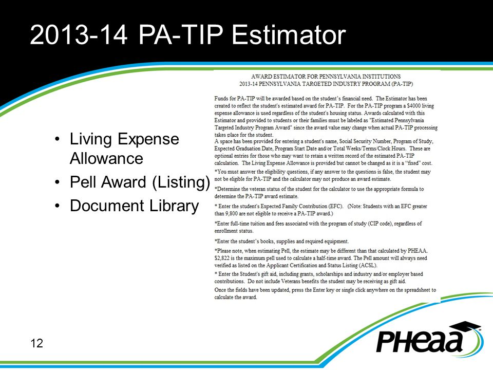 2013-14 PA-TIP Estimator Living Expense Allowance Pell Award (Listing) Document Library 12