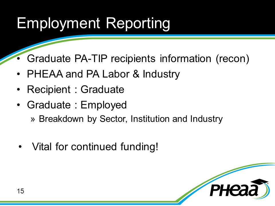 Employment Reporting Graduate PA-TIP recipients information (recon) PHEAA and PA Labor & Industry Recipient : Graduate Graduate : Employed »Breakdown