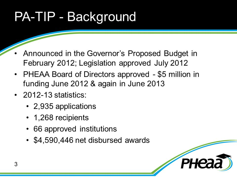 PA-TIP - Background Announced in the Governor's Proposed Budget in February 2012; Legislation approved July 2012 PHEAA Board of Directors approved - $5 million in funding June 2012 & again in June 2013 2012-13 statistics: 2,935 applications 1,268 recipients 66 approved institutions $4,590,446 net disbursed awards 3
