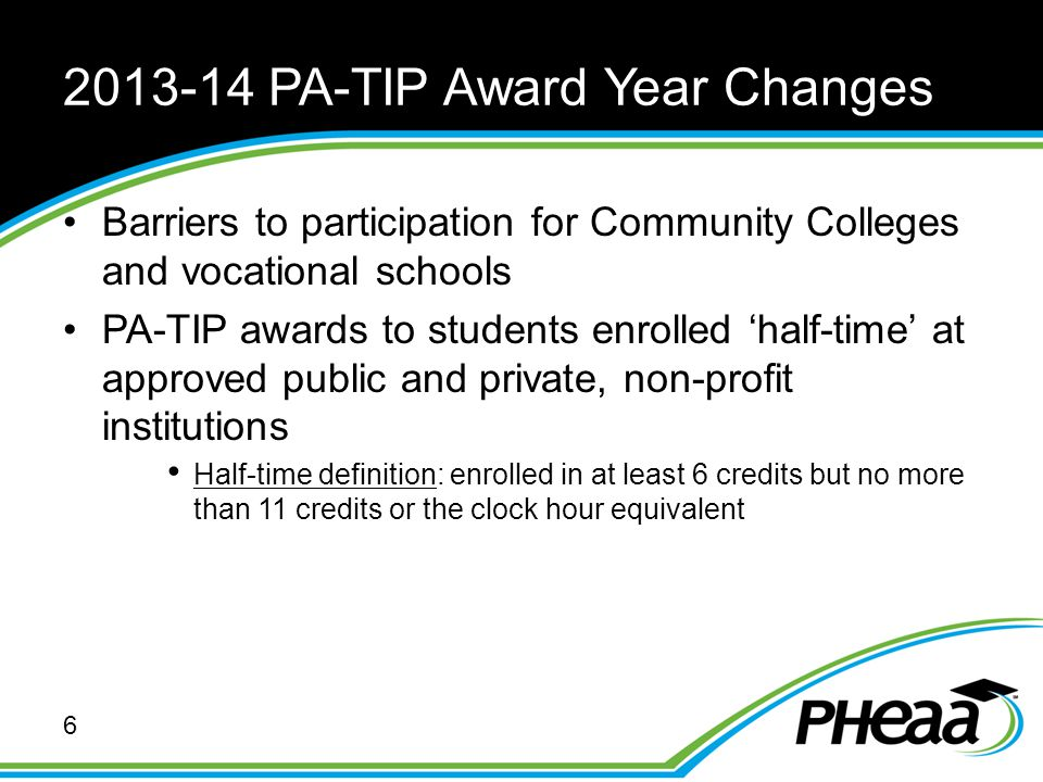 2013-14 PA-TIP Award Year Changes Barriers to participation for Community Colleges and vocational schools PA-TIP awards to students enrolled 'half-tim