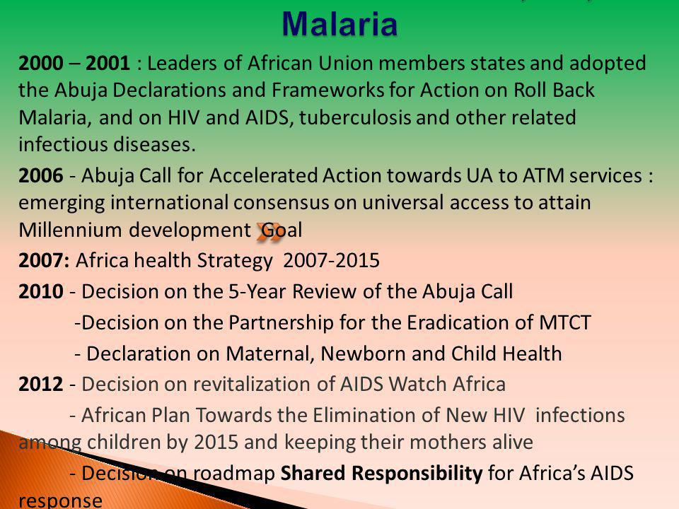  Extend the Abuja Call for the period 2010-2015 to enable further implementation of the commitments and to coincide with the target of the MDGs.