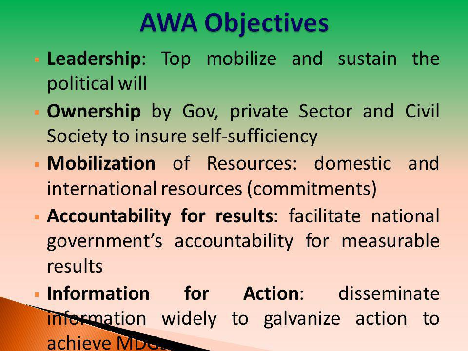  Institutionalize AWA within the AU and other African mechanisms AWA Structure : AWA Heads of State and Government Action Committee, AWA Consultative Expert Committee and AWA Secretariat hosted by AUC.