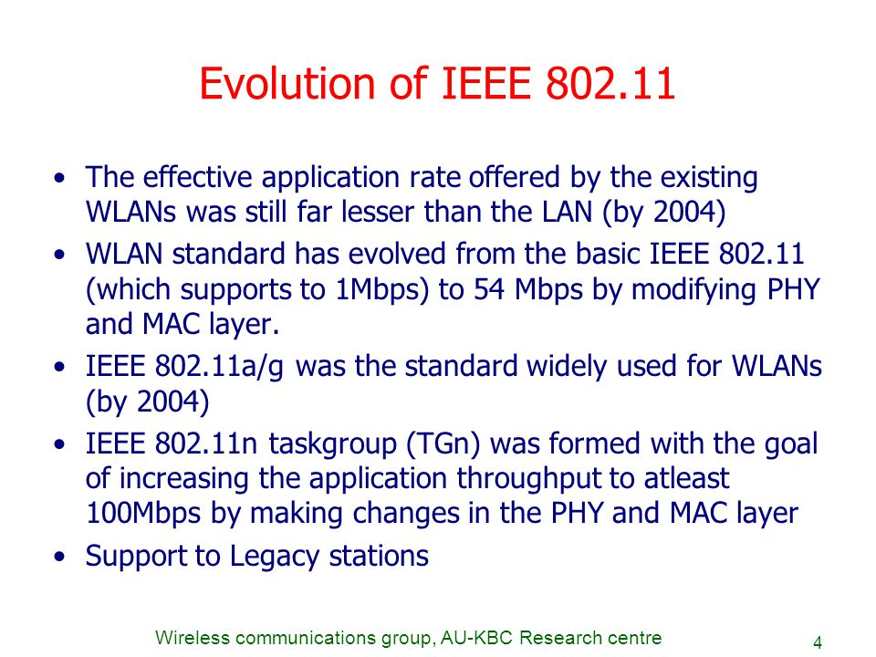Wireless communications group, AU-KBC Research centre 4 Evolution of IEEE 802.11 The effective application rate offered by the existing WLANs was stil