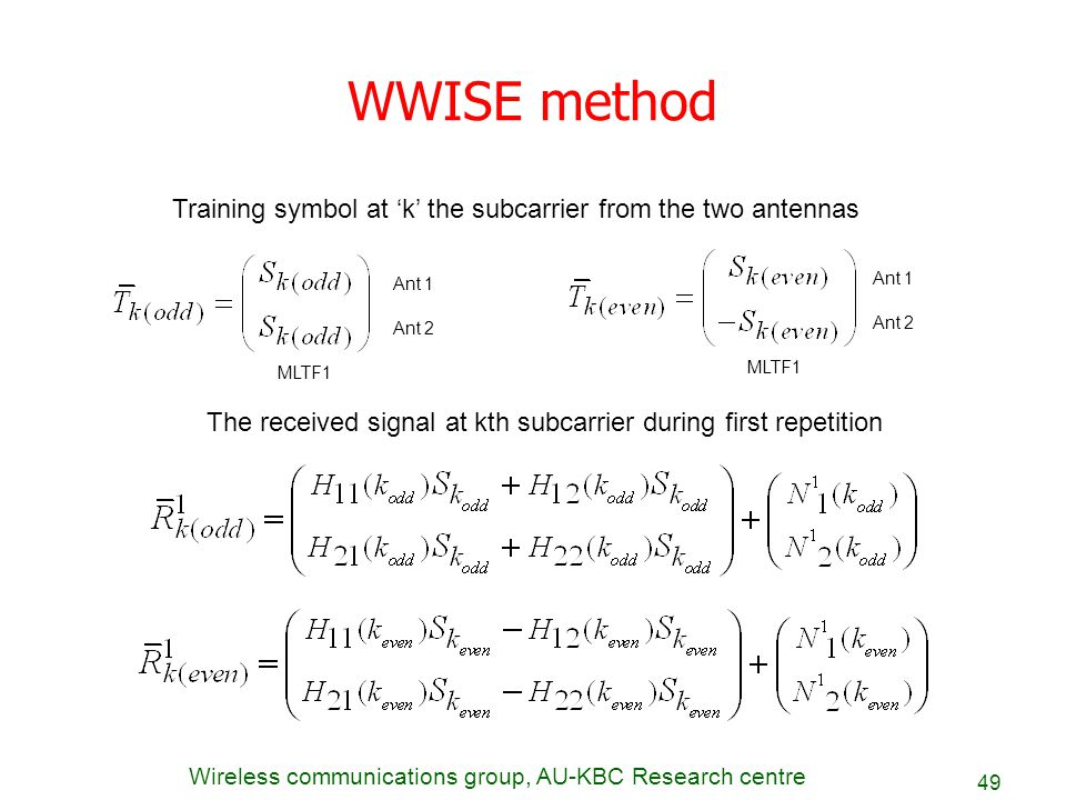 Wireless communications group, AU-KBC Research centre 49 WWISE method Training symbol at 'k' the subcarrier from the two antennas Ant 1 Ant 2 MLTF1 Th