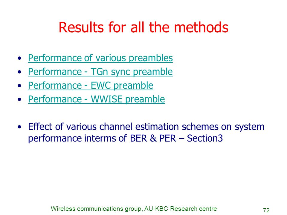 Wireless communications group, AU-KBC Research centre 72 Results for all the methods Performance of various preambles Performance - TGn sync preamble