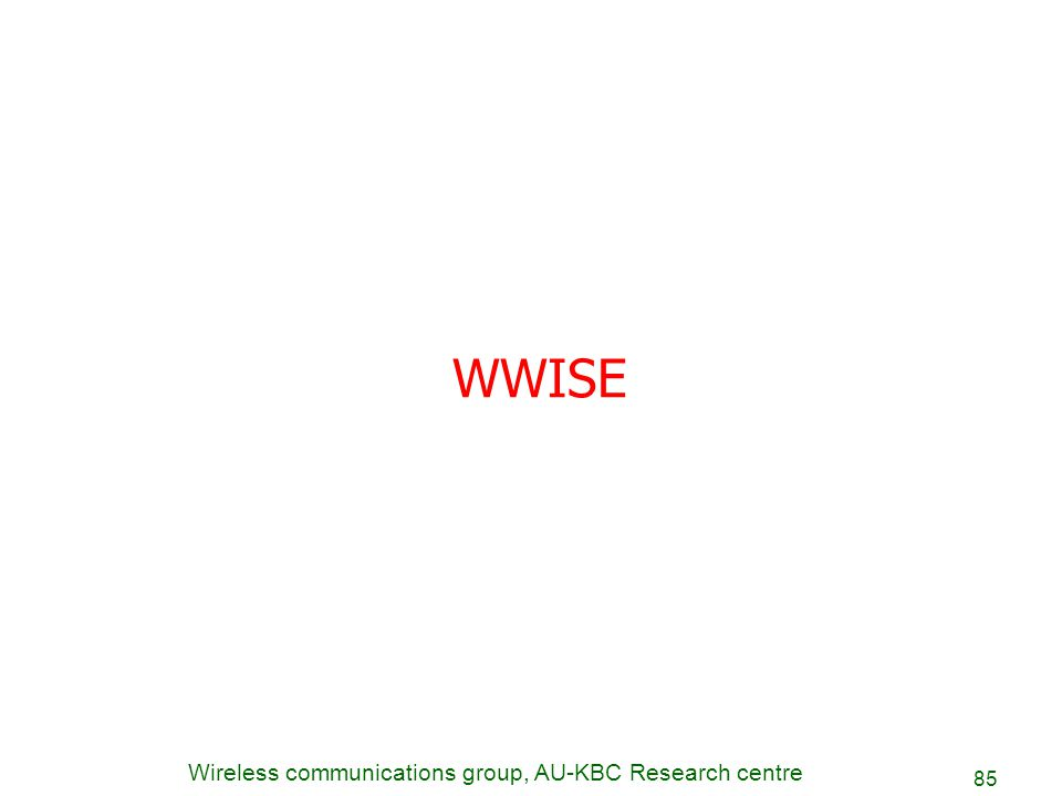 Wireless communications group, AU-KBC Research centre 85 WWISE