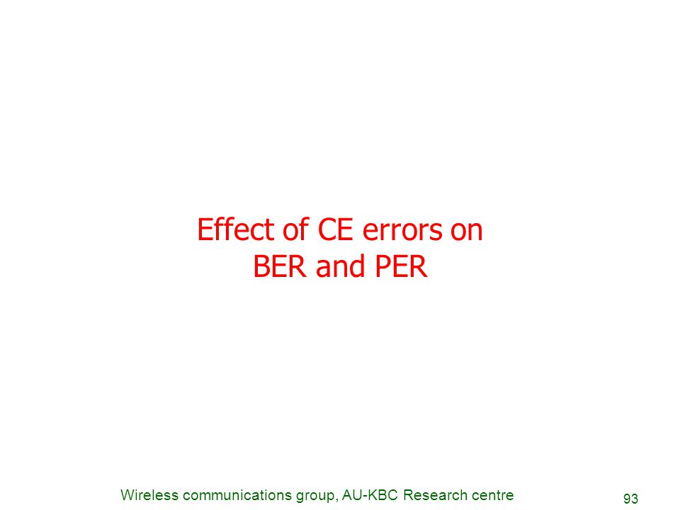 Wireless communications group, AU-KBC Research centre 93 Effect of CE errors on BER and PER
