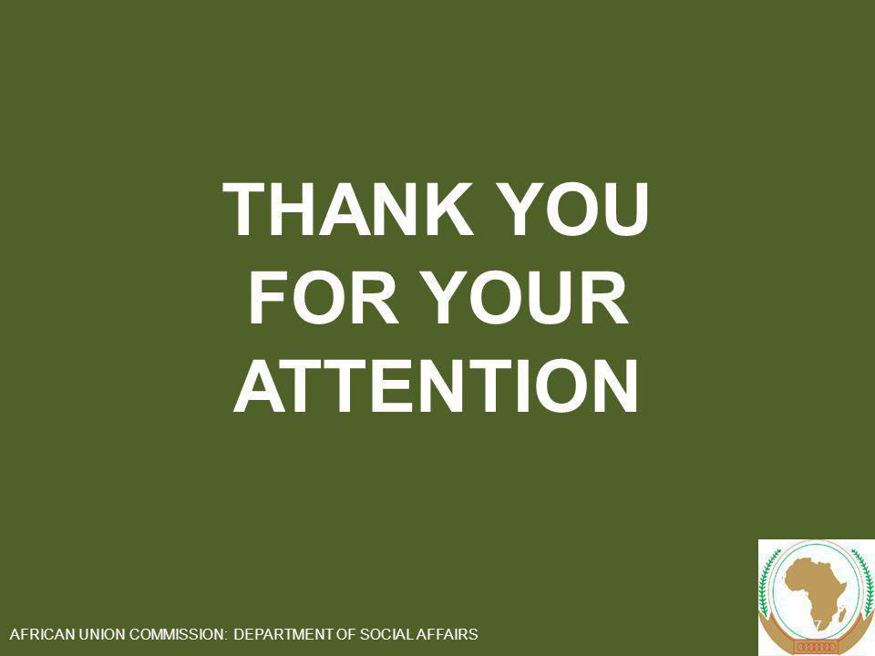 THANK YOU FOR YOUR ATTENTION 27 AFRICAN UNION COMMISSION: DEPARTMENT OF SOCIAL AFFAIRS