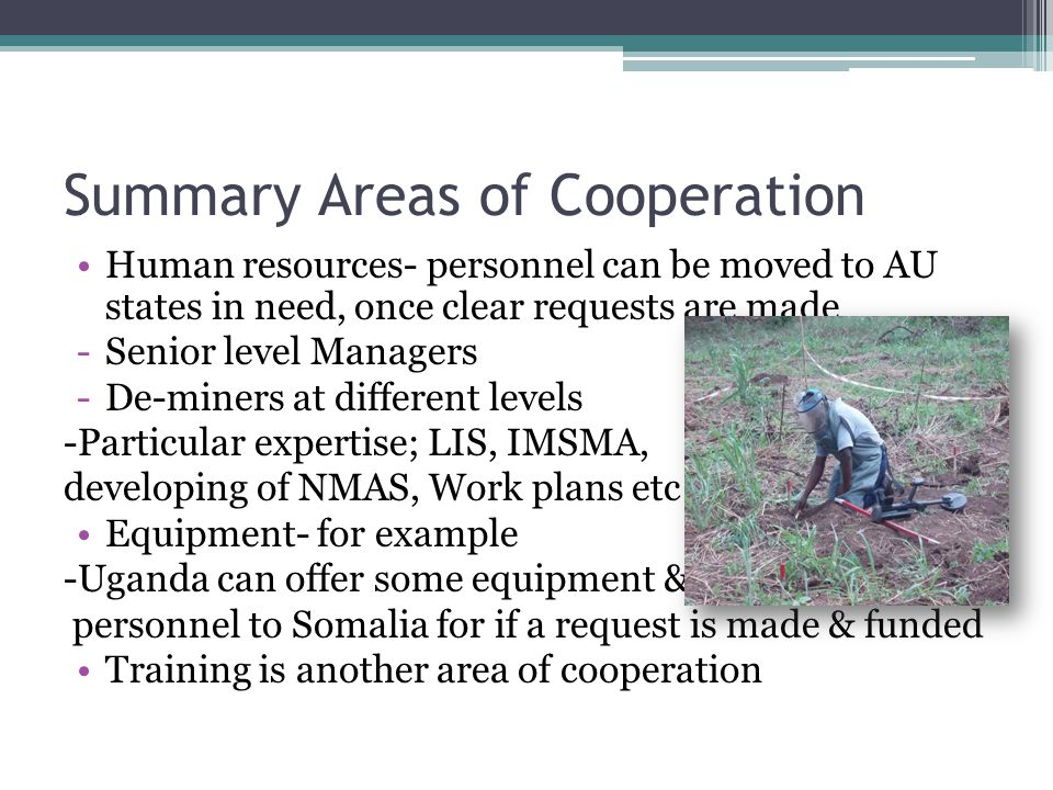 Summary Areas of Cooperation Human resources- personnel can be moved to AU states in need, once clear requests are made -Senior level Managers -De-min