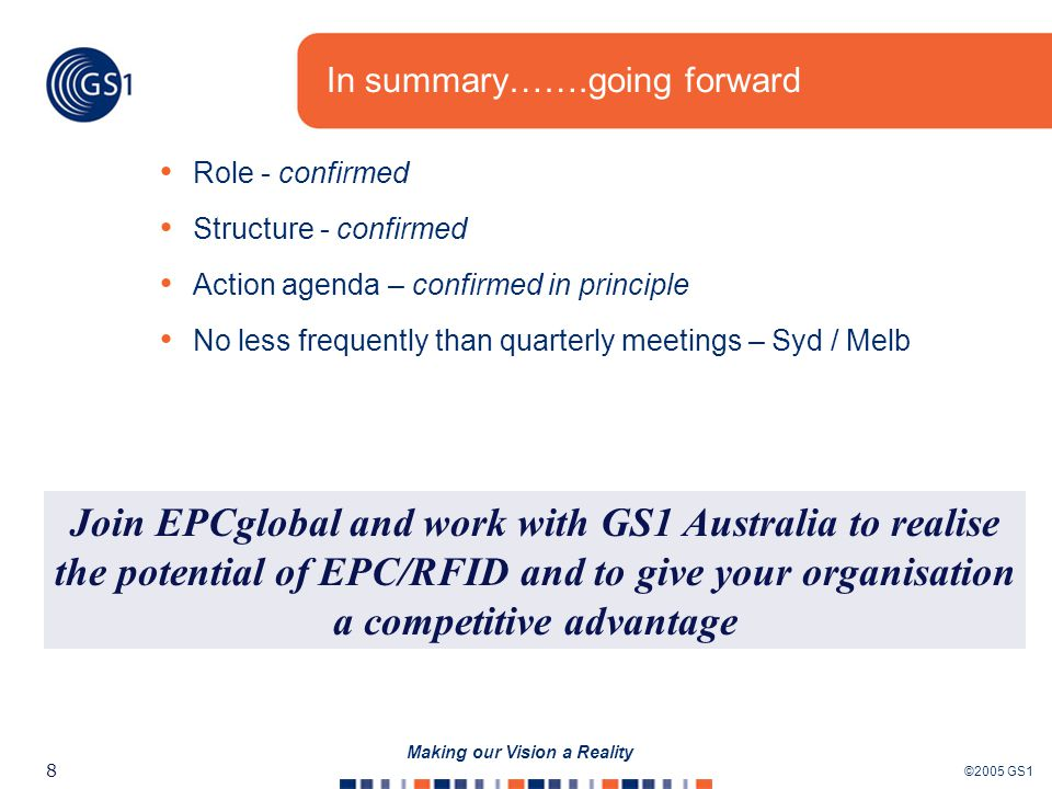 ©2005 GS1 8 Making our Vision a Reality In summary…….going forward Role - confirmed Structure - confirmed Action agenda – confirmed in principle No less frequently than quarterly meetings – Syd / Melb Join EPCglobal and work with GS1 Australia to realise the potential of EPC/RFID and to give your organisation a competitive advantage