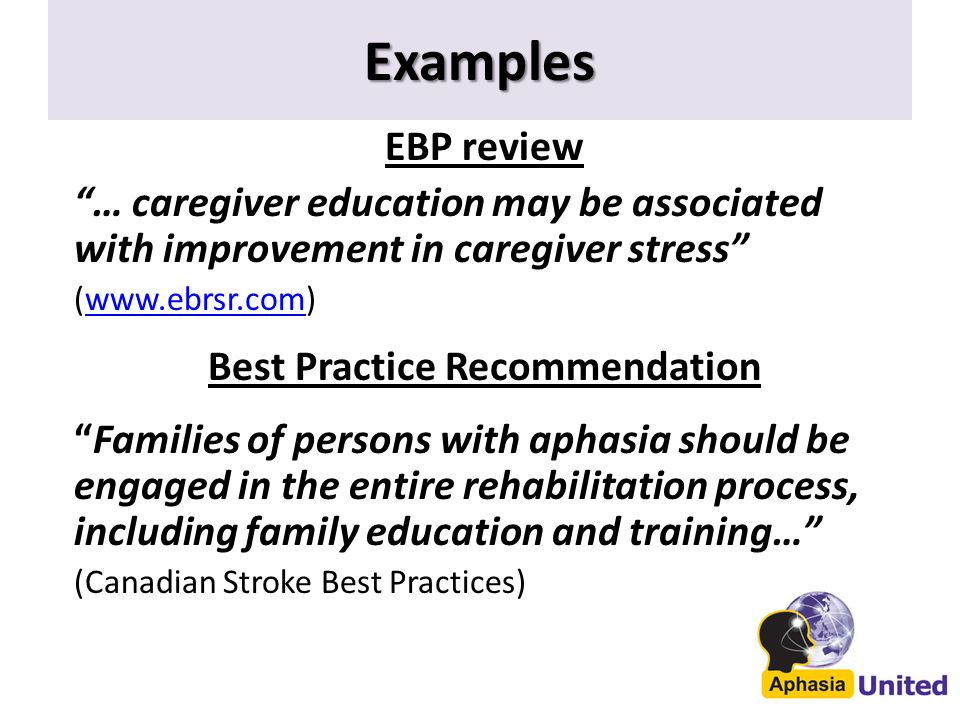 Examples EBP review … caregiver education may be associated with improvement in caregiver stress (www.ebrsr.com)www.ebrsr.com Best Practice Recommendation Families of persons with aphasia should be engaged in the entire rehabilitation process, including family education and training… (Canadian Stroke Best Practices)
