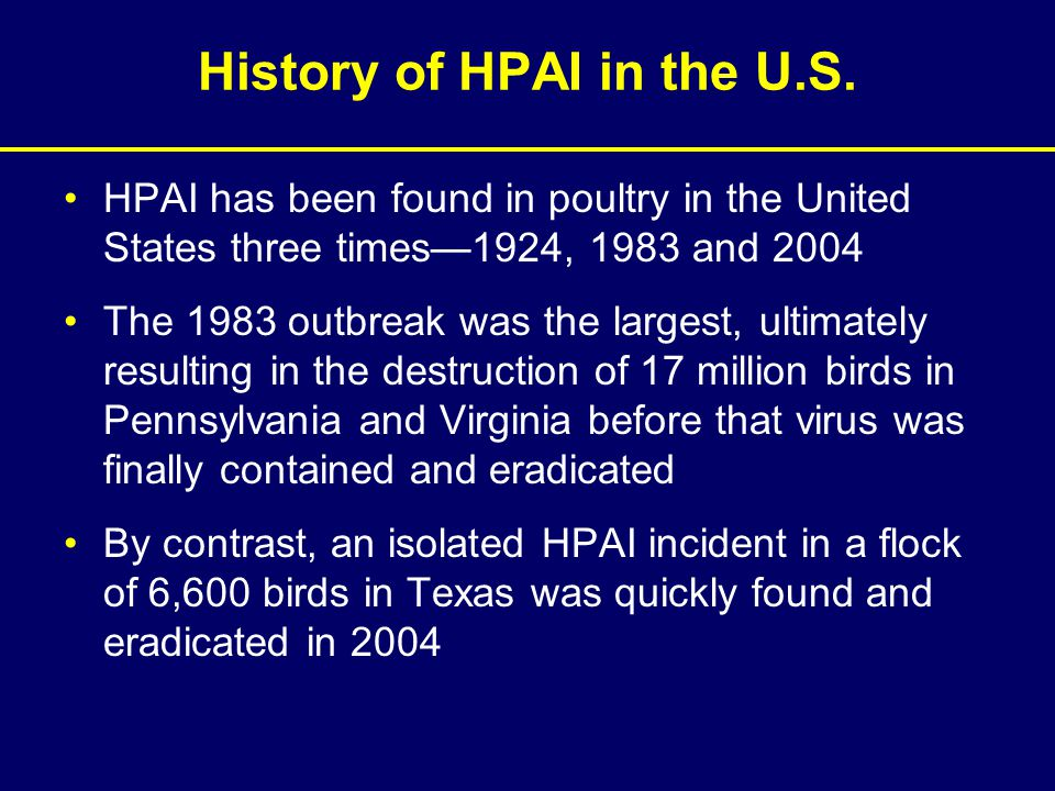 History of HPAI in the U.S. HPAI has been found in poultry in the United States three times—1924, 1983 and 2004 The 1983 outbreak was the largest, ult