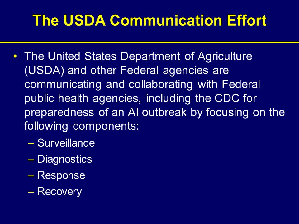 The USDA Communication Effort The United States Department of Agriculture (USDA) and other Federal agencies are communicating and collaborating with F