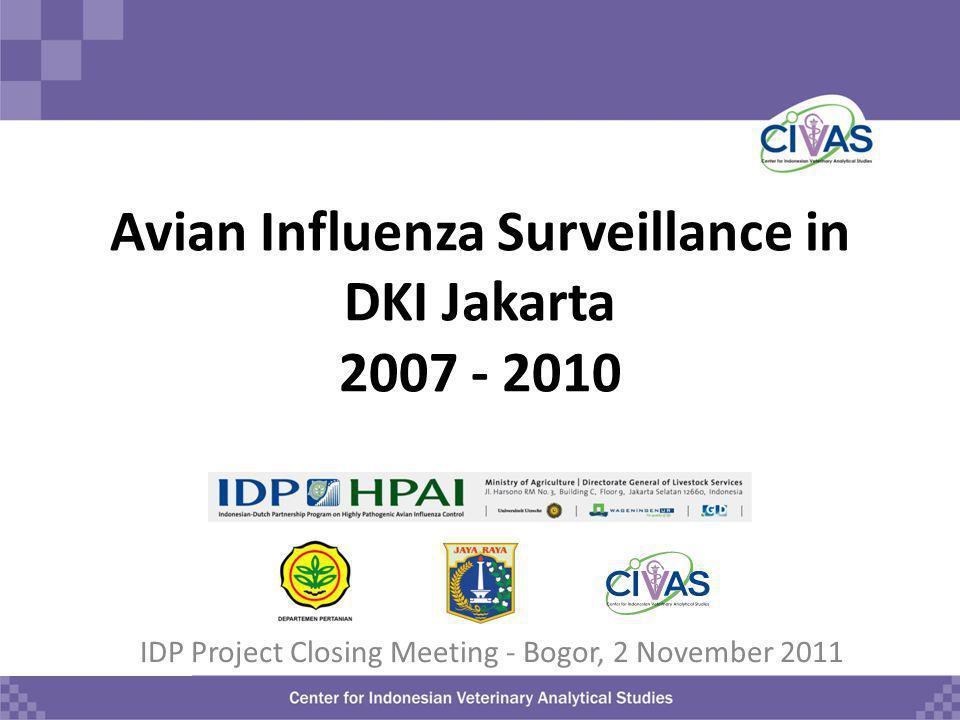 Avian Influenza Surveillance in DKI Jakarta 2007 - 2010 IDP Project Closing Meeting - Bogor, 2 November 2011