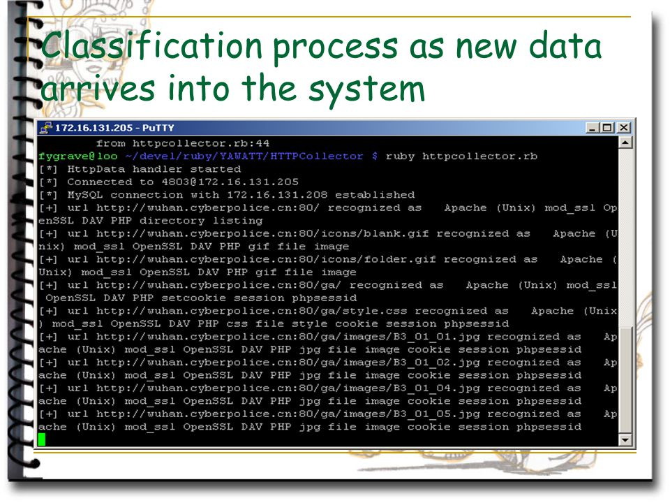 Classification process as new data arrives into the system