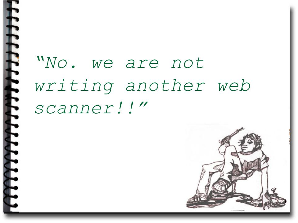No. we are not writing another web scanner!!