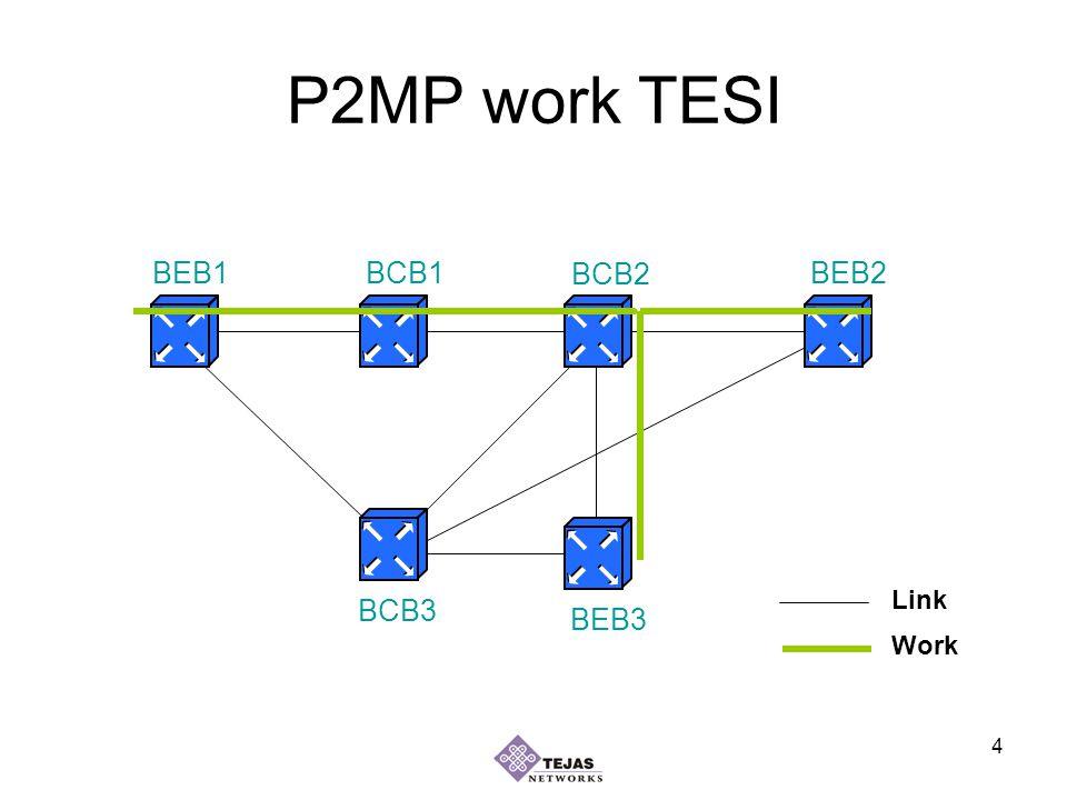 4 P2MP work TESI BEB1BEB2 BEB3 BCB1 BCB2 BCB3 Work Link