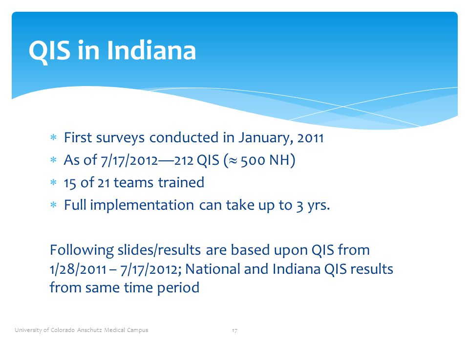  First surveys conducted in January, 2011  As of 7/17/2012—212 QIS (  500 NH)  15 of 21 teams trained  Full implementation can take up to 3 yrs.