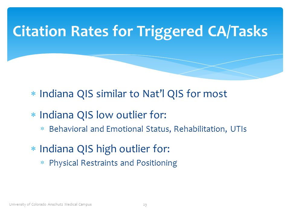  Indiana QIS similar to Nat'l QIS for most  Indiana QIS low outlier for:  Behavioral and Emotional Status, Rehabilitation, UTIs  Indiana QIS high