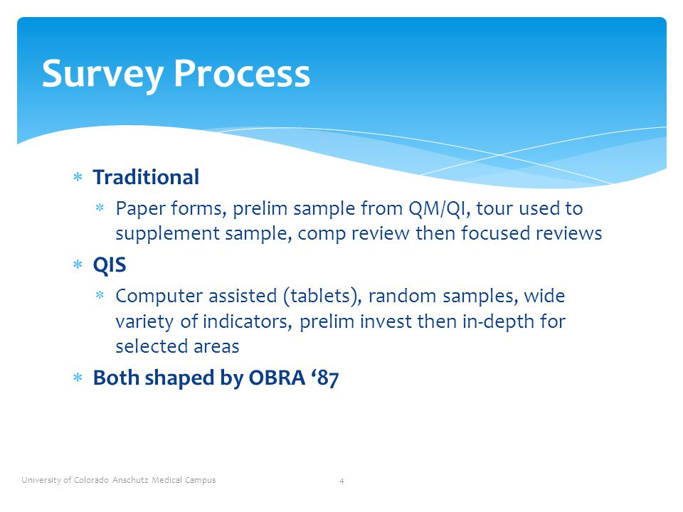  Traditional  Paper forms, prelim sample from QM/QI, tour used to supplement sample, comp review then focused reviews  QIS  Computer assisted (tab